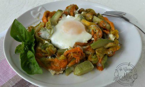 Zucchine fiori di zucca e uova