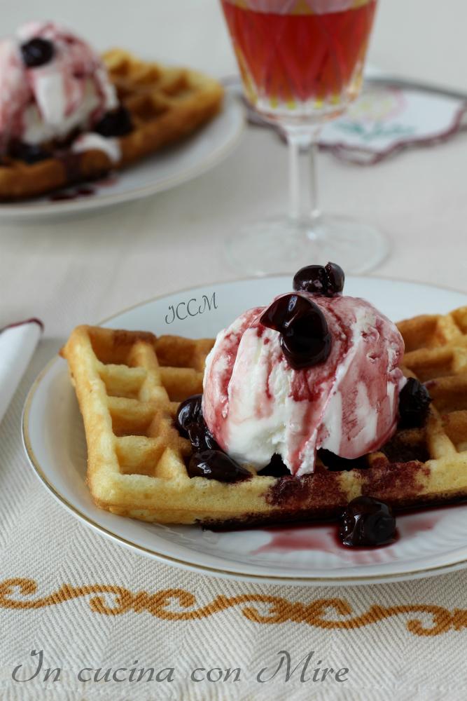 Waffles con gelato