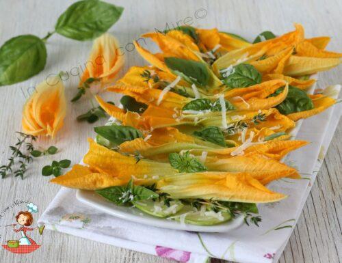 Carpaccio di zucchine e fiori di zucca