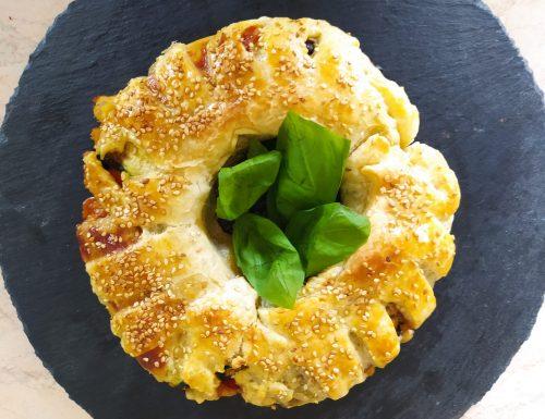 Ciambella di pasta sfoglia con verdure arrostite