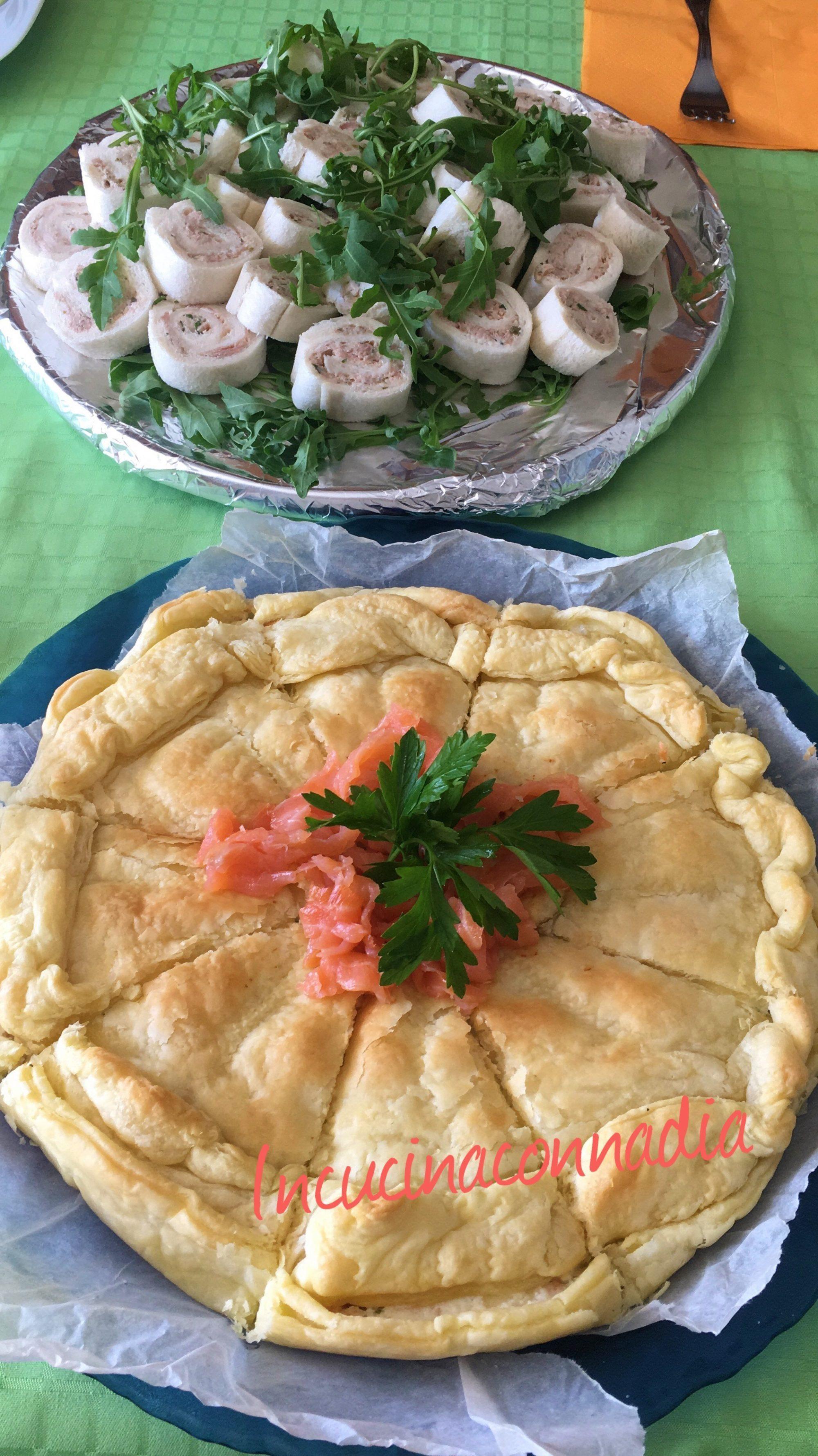 Mix antipasti: rotelline tonno e limone e torta salata con ricotta e salmone