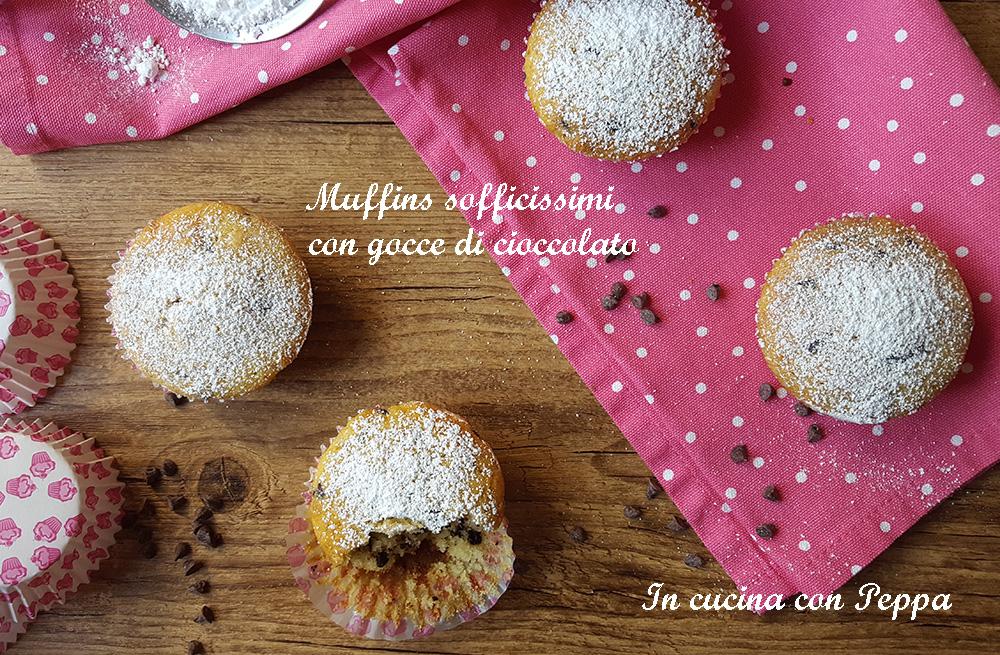 muffins sofficissimi con gocce di cioccolato