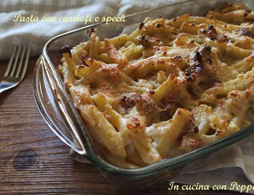 Pasta con carciofi e speck al forno