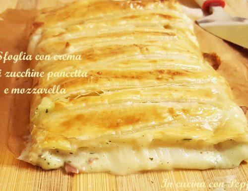 Sfoglia con crema di zucchine pancetta e mozzarella