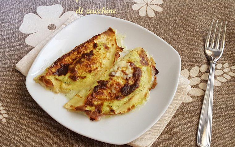 Crespelle con crema di zucchine, prosciutto e mozzarella
