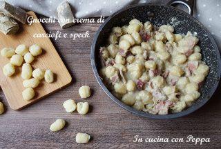 gnocchi con crema di carciofi e speck