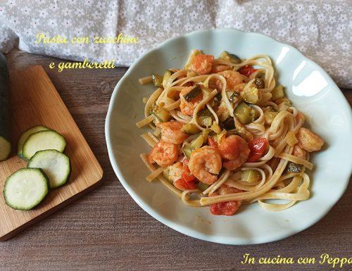 Linguine con zucchine e gamberetti, veloce