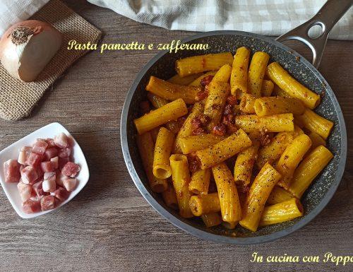 Pasta con zafferano e pancetta affumicata saporita