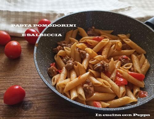 Pasta pomodorini e salsiccia gustosa