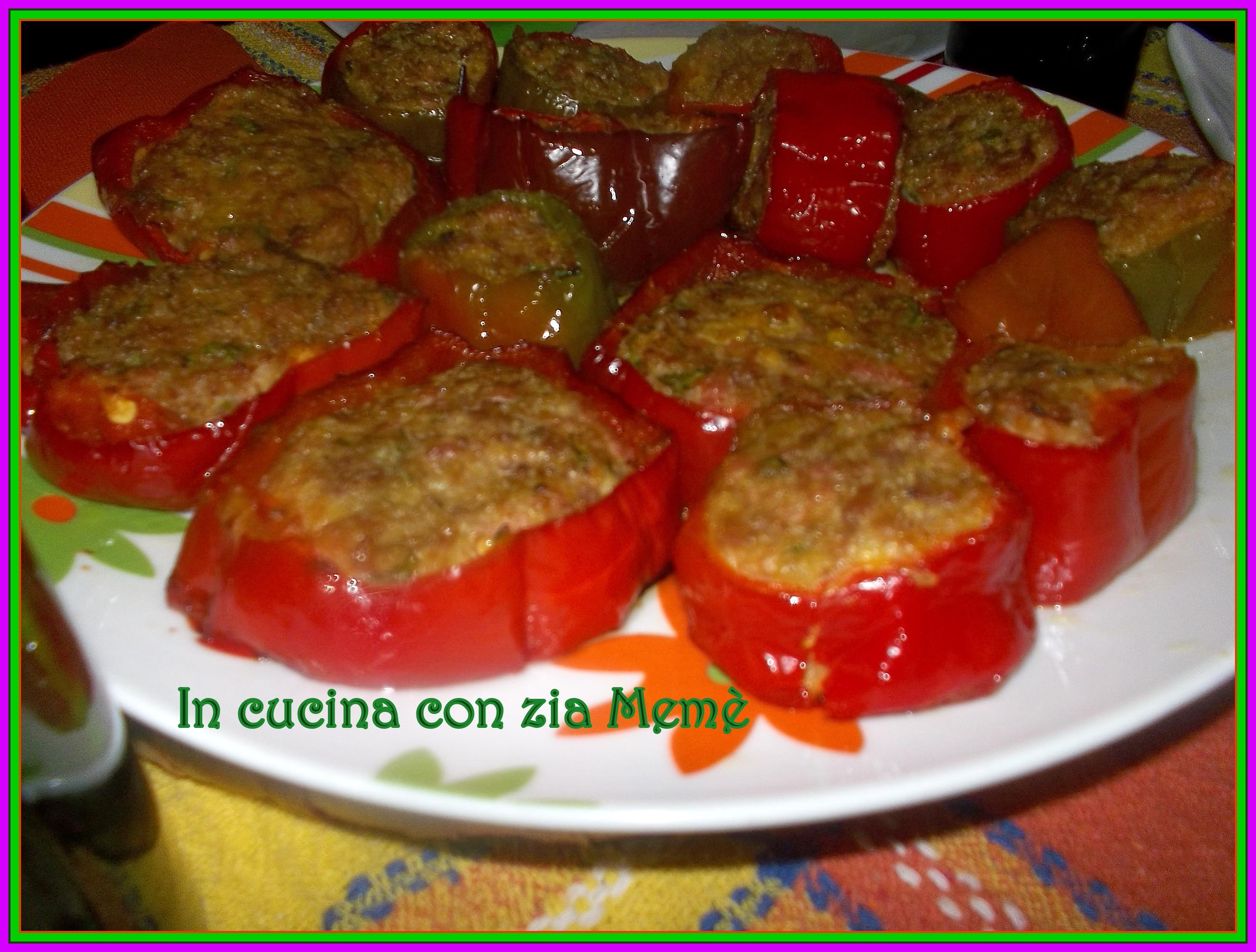 Peperoni ripieni con carne macinata e mortadella in for Secondi piatti della cucina romana