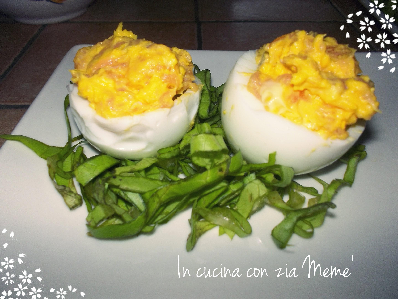 Uova sode ripiene al salmone in cucina con zia meme 39 for Cucinare uova sode