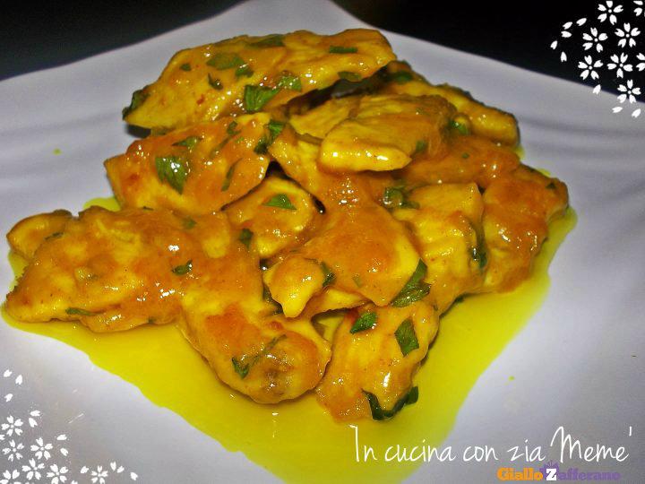 Straccetti di pollo allo zenzero con crema di curcuma in for Cucinare zenzero
