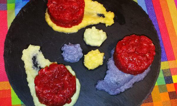 Battuta di manzo su crema di cavolfiori colorati