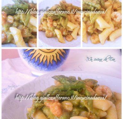Gnocchi con asparagi e scampi rosati