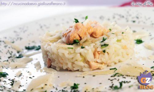 Risotto salmone zucchina con scaglie di parmigiano