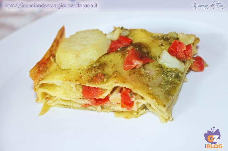 lasagne patate pesto e pomodorini