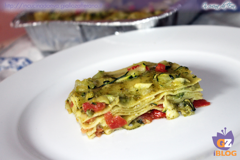lasagne zucchine pesto e pomodorini