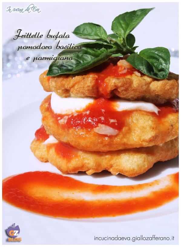 Frittelle bufala pomodoro basilico e parmigiano