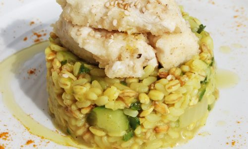Pollo al sesamo su risotto 3 cereali
