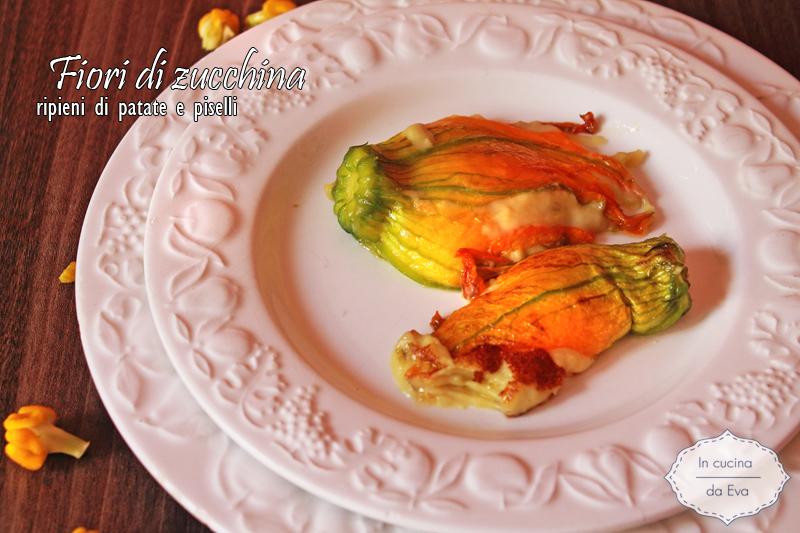 Fiori di zucchina ripieni di patate e piselli1