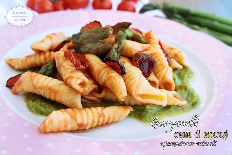Garganelli crema di asparagi e pomodorini essiccati
