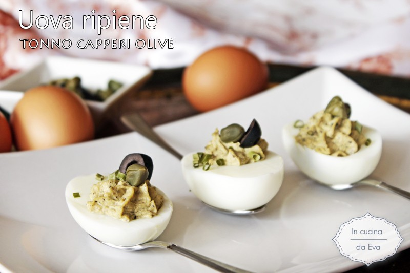 Uova ripiene tonno capperi olive