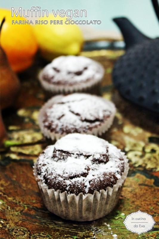 Muffin vegan farina riso pere cioccolato
