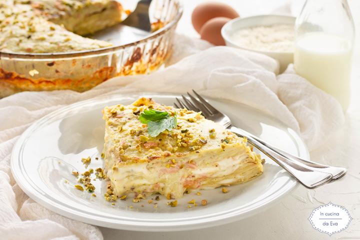 Lasagna salmone e pesto di pistacchi