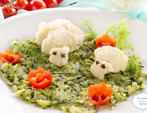 Pecorelle di cavolfiore con crema di zucchine