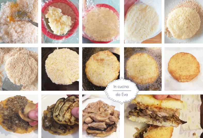 Passaggi fotografici per realizzare il panino di riso giapponese