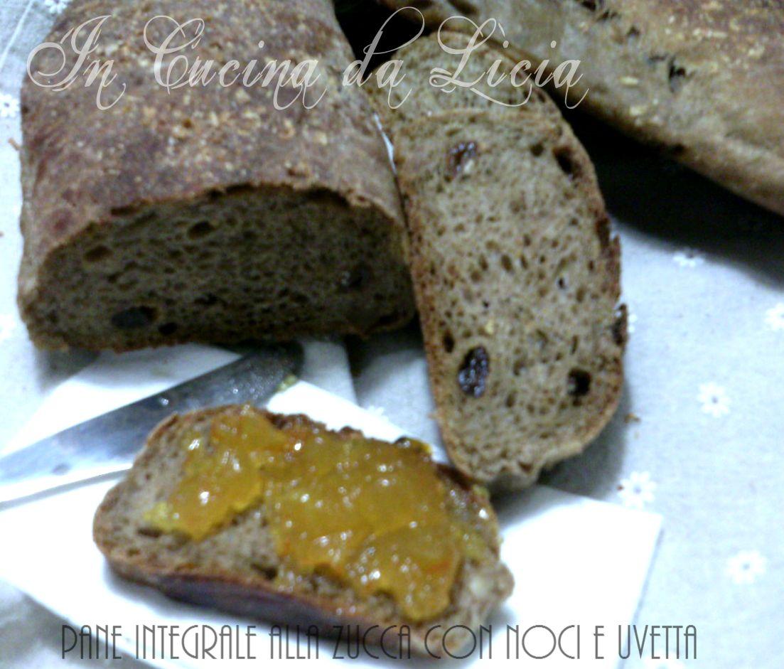 Pane integrale alla zucca con noci e uvetta