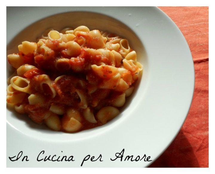 Conchiglie con salsa di pomodoro fatta in casa