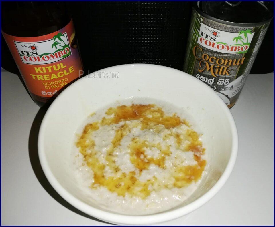 Porridge al microonde con latte di cocco