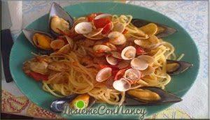 Spaghetti con lupini e cozze