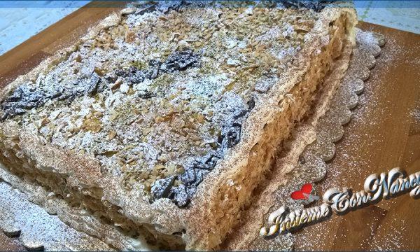 Torta Diplomatica con crema pasticcera e scaglie di cioccolato fondente