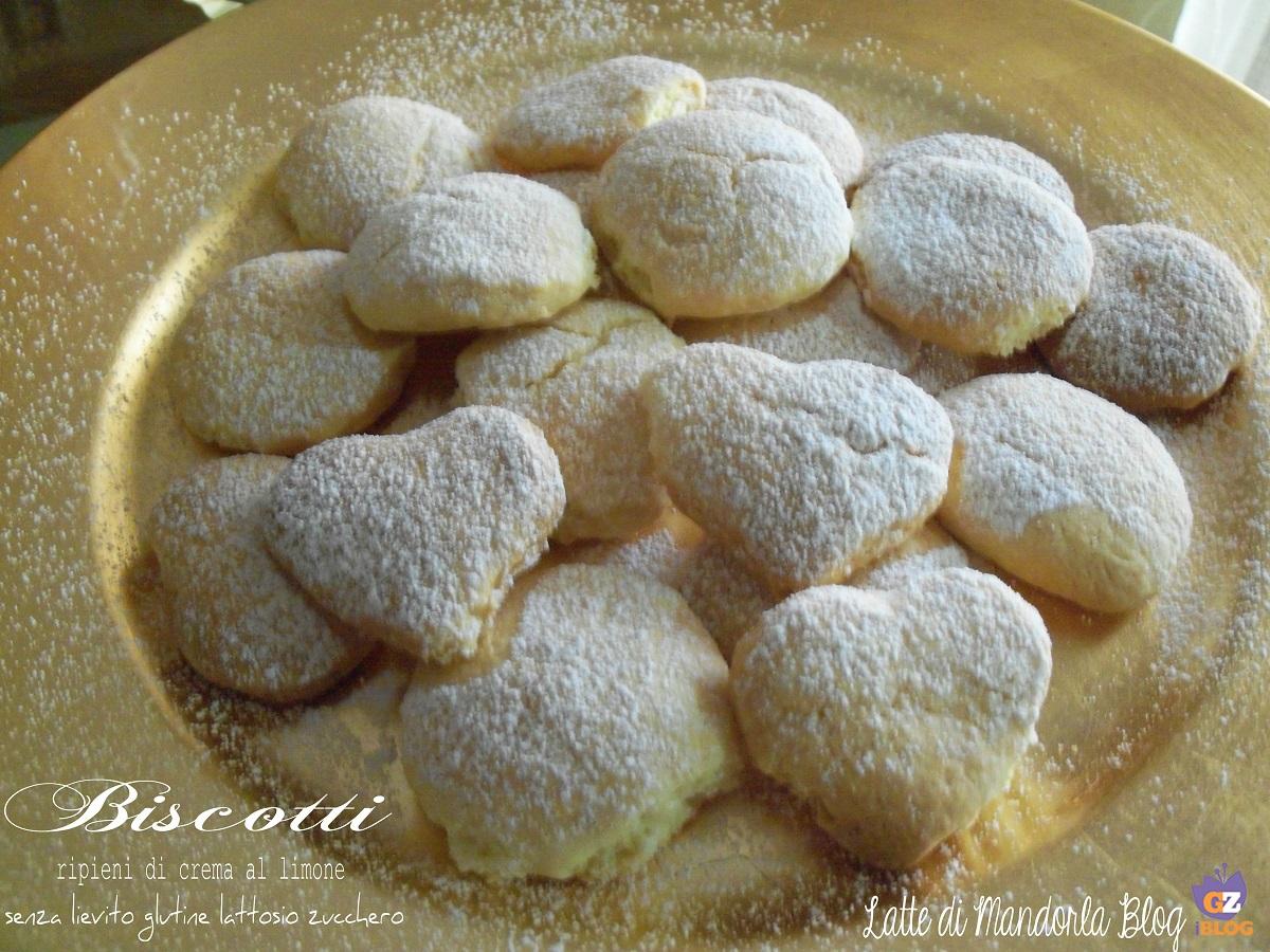 Biscotti ripieni di crema al limone senza lievito glutine lattosio zucchero