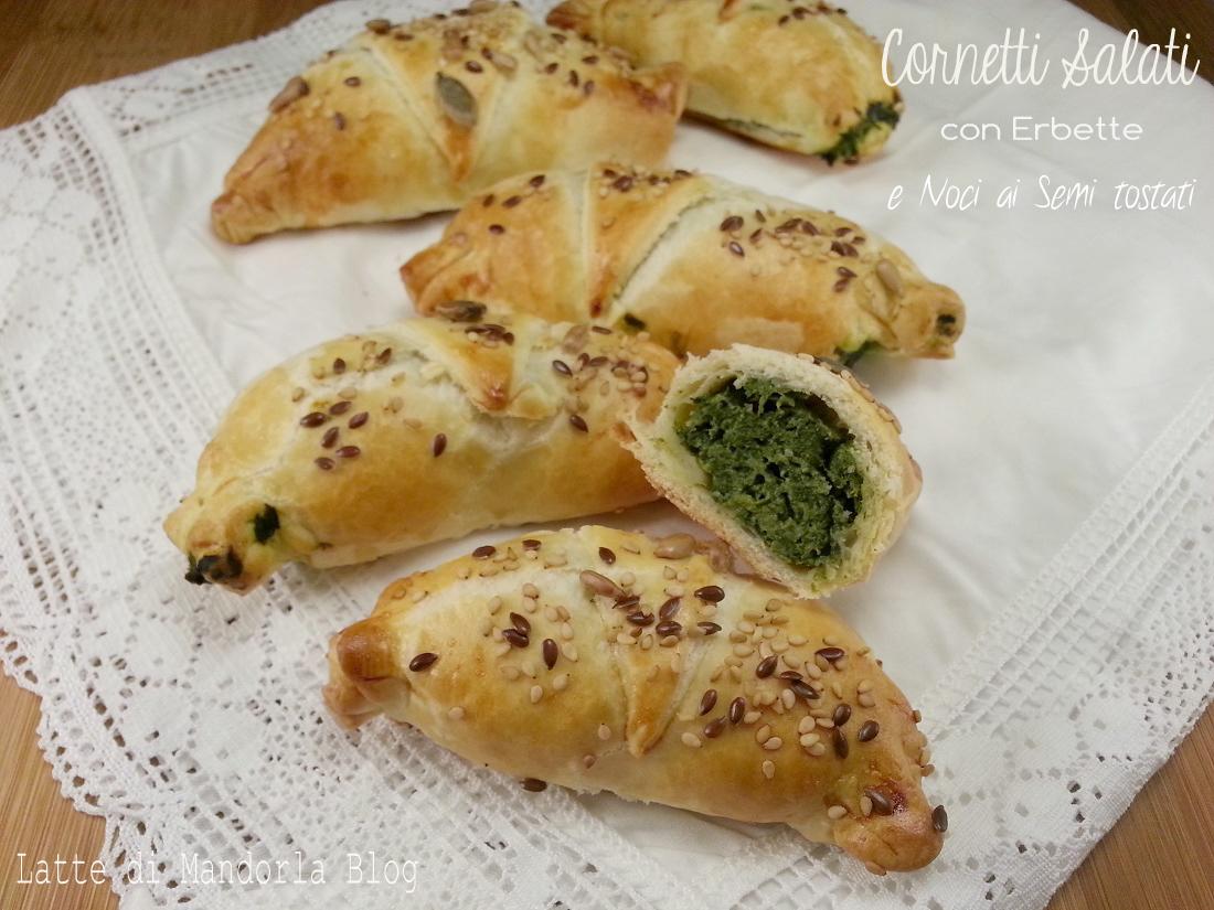 Cornetti salati con Erbette e Noci ai Semi tostati