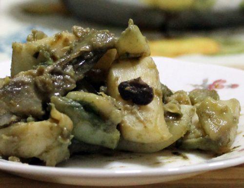 Seppie con carciofi, pistacchi e olive