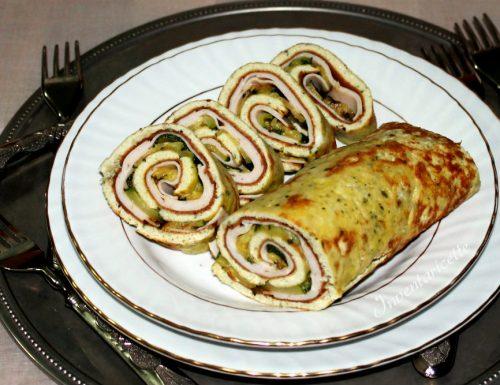 Rotolo di frittata al pesto con zucchine e fesa