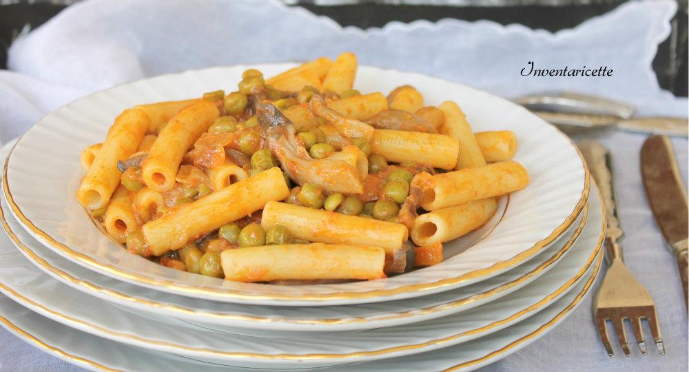 Pasta con Piselli Funghi e Pancetta