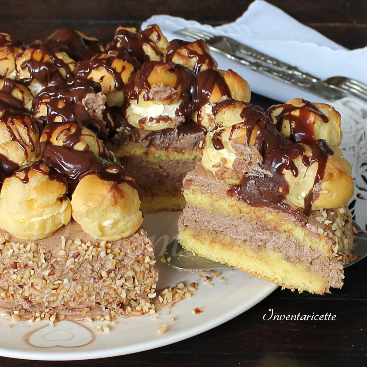 Torta Nocciutella con Profitteroles | Torta nocciole e nutella