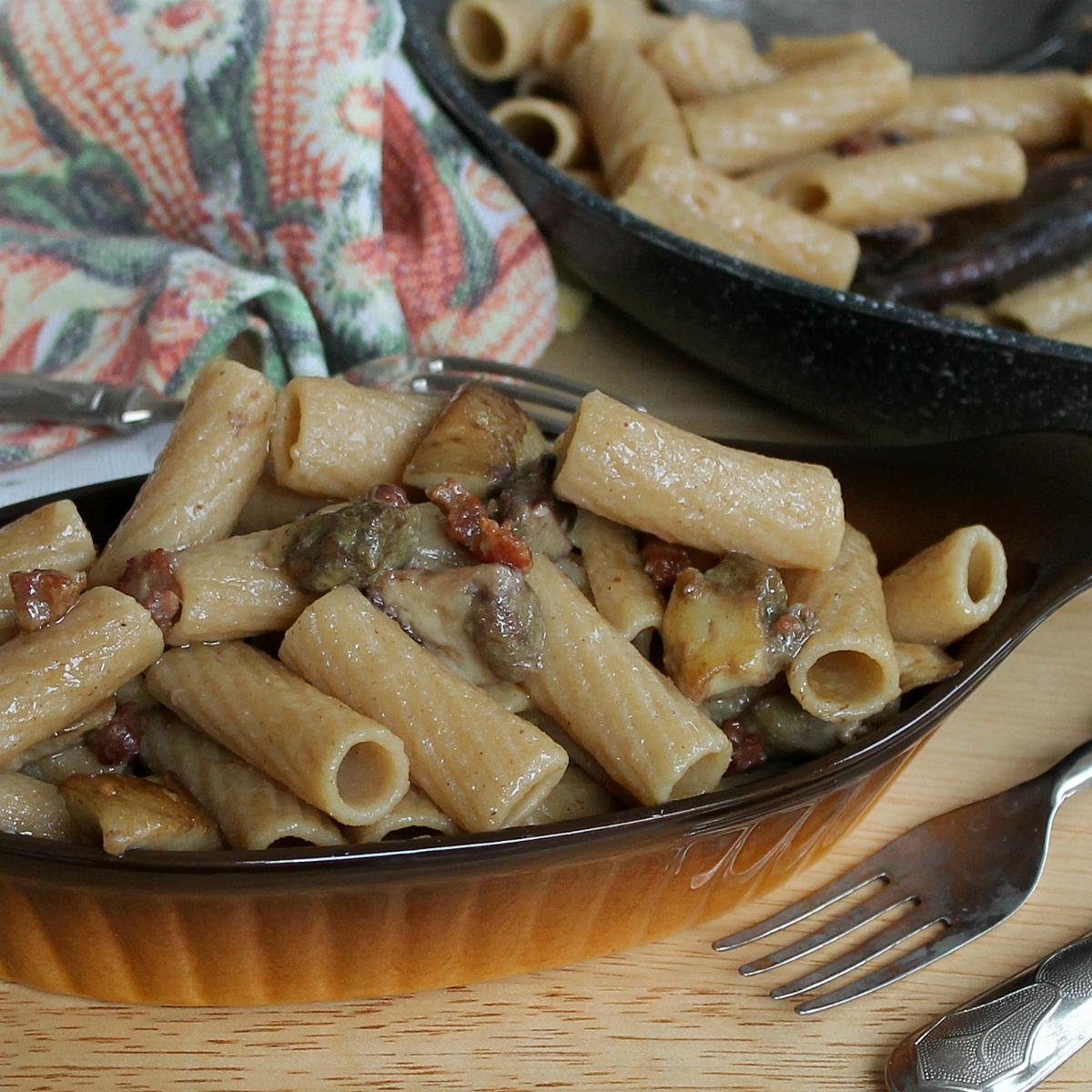 Tortiglioni integrali porcini e pancetta   Pasta porcini e pancetta