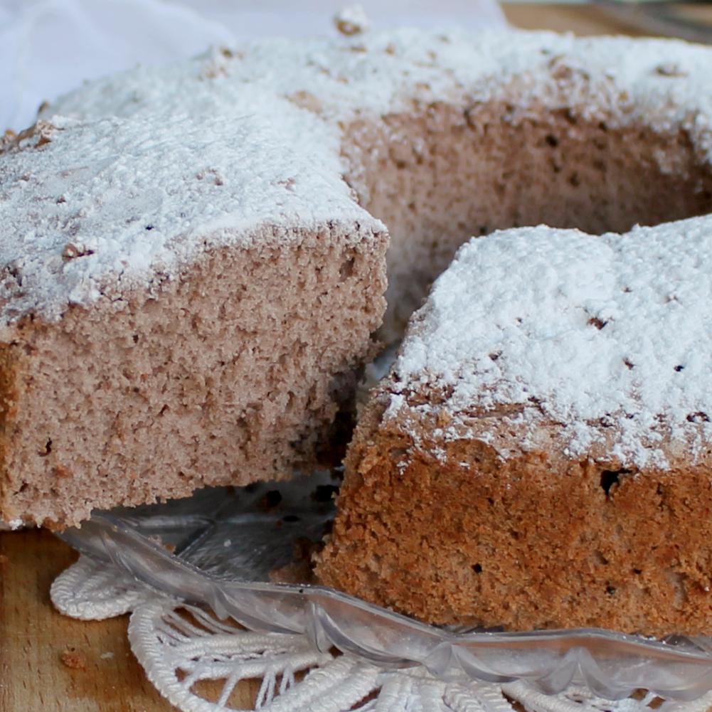 ANGEL CAKE CACAO E MANDORLA ricetta senza grassi