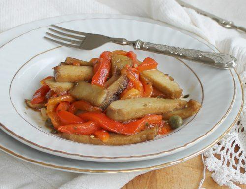 Straccetti di seitan con peperoni grigliati
