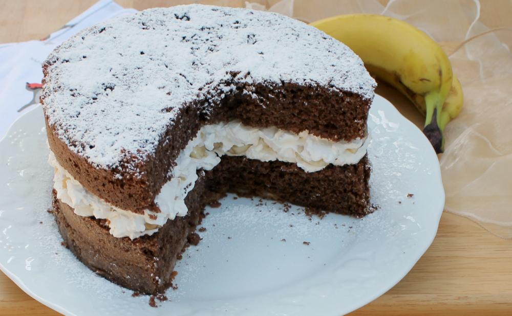 Torta Banana Cioccolato e Panna Morbida e Fresca