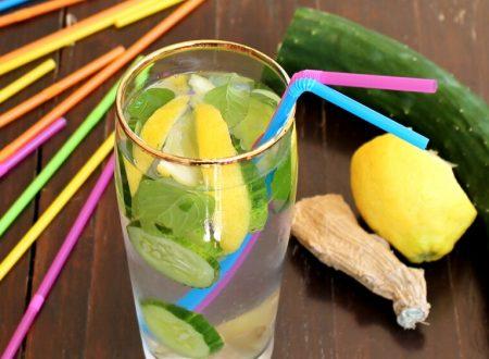 ACQUA DETOX VENTRE PIATTO zenzero limone cetriolo menta