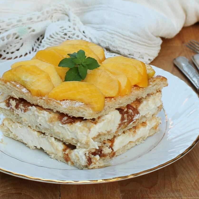 TORTA DI PESCHE ricetta millefoglie crema senza cottura