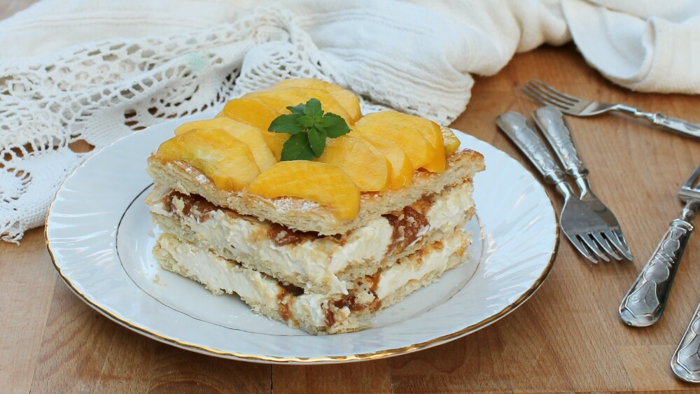 MILLEFOGLIE ALLE PESCHE torta di pesche senza forno