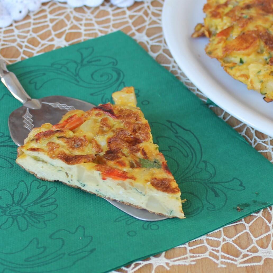 FRITTATA CON PEPERONI E PATATE ricetta antipasto e secondo piatto