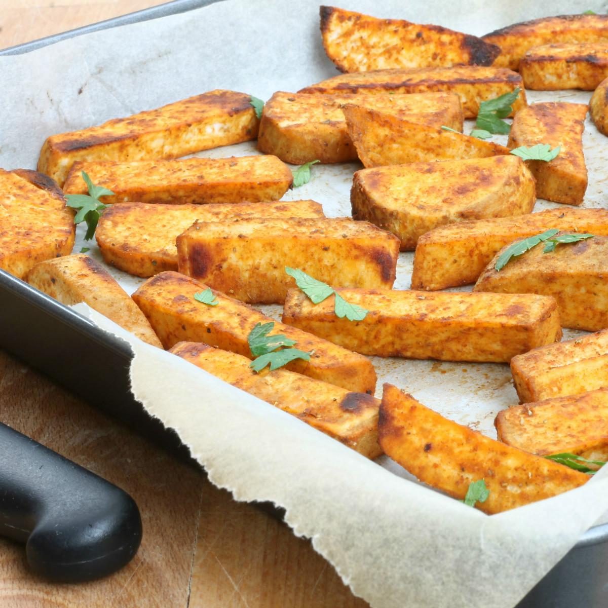 Patate dolci al forno ricetta patate americane alla paprika dolce - Sonicatore cucina a cosa serve ...